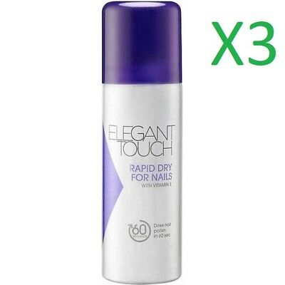 3 x Elegant Touch Rapid Dry Nail Polish Spray