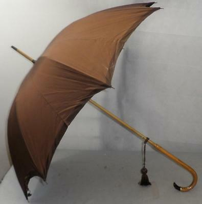 Vintage Brown Canopy Gold Plate Umbrella - Crook Handle With Purple Stone