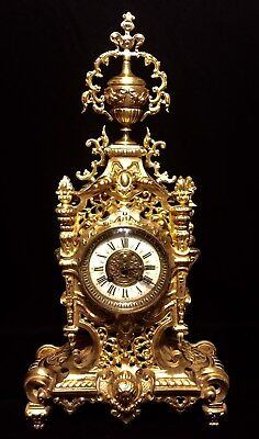 Beautiful Large French Antique Solid Gilt Bronze Clock 19Th C