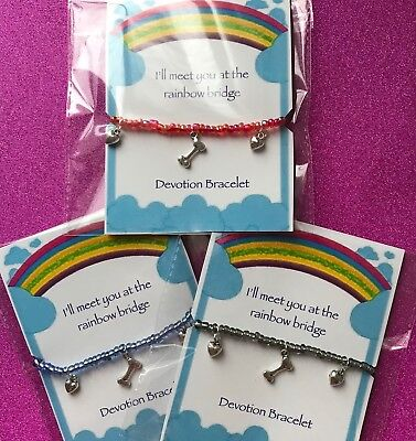 New Rainbow Bridge Pet Loss Bracelet ~ Gift idea ~ Beaded with Charm, Memorial