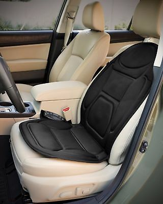 Car Seat Cover Massager Heated Vibration Massage Chair Cushion Back Heater Black