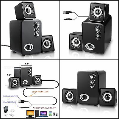 2.1 USB Powered  Computer Speakers PC Laptop Desktop Multimedia System Subwoofer