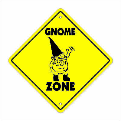 """Gnome Crossing Sign Zone Xing 14"""" Tall garden lawn fantasy statue nome dwarf"""