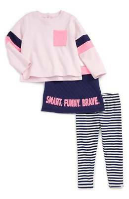Rosie Pope Baby Girl Brave Outfit Set Long Sleeve, Stripe Leggings, and Skirt