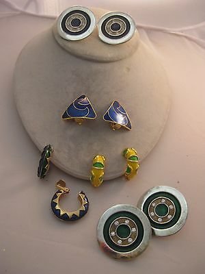 Estate Costume 5 Piece Lot Geometric Blue Green Yellow Earrings Clip Colorful