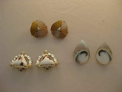 Estate Costume 3 Piece Lot Earth tone White Black Brown Marbled Earrings Clip