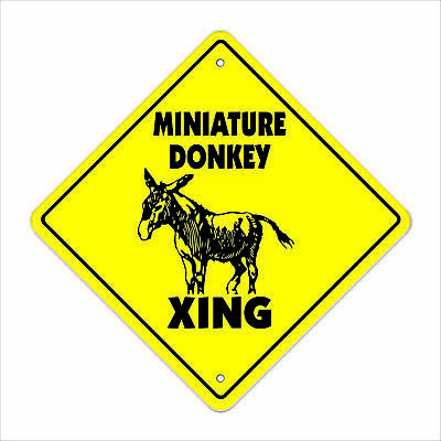"Miniature Donkey Crossing Sign Zone Xing 17"" Tall jackass jack ass mule"