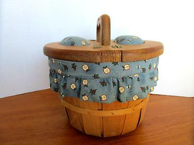 Vintage Wicker Sewing Basket with Wooden Handles Hinged Lid and Fabric