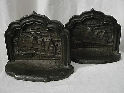 Vintage Shakespeare's House Stratford On Avon Book Ends Cast Metal