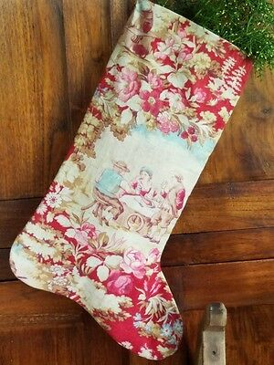 Antique Christmas Stocking French fabric Floral Cotton Pink Roses Red Ticking