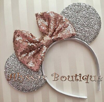 Minnie Mouse Ears Headband Shiny Silver Rose Gold Bow Birthday Party Bridal Cute