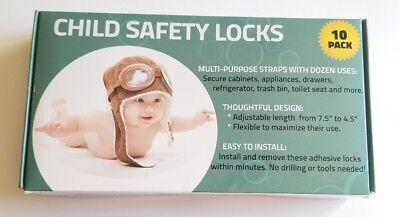 Wappa 10 Pack Baby Child Safety Locks with 3M tape adhesive