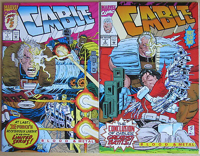Cable: Blood & Metal  #1-2 Marvel Comics 1992 Complete Ltd Series! Top condition