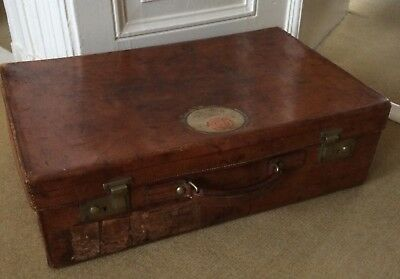 1930 Mark Cross antique leather travel suitcase trunk