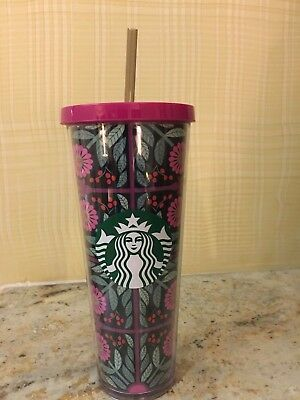 New 2017 Starbucks Floral PINK Flowers & Green Acrylic Cold Cup Tumbler 24oz