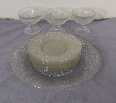 11 pcs. Vintage Indiana Glass 8)Plates & 3)Cups Clear Glass Sandwich Pattern