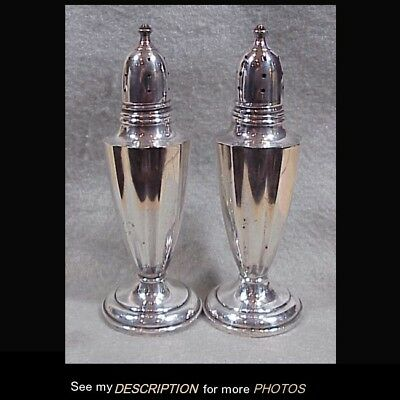1940s Pair Sterling Silver Salt & Pepper Shakers Classical