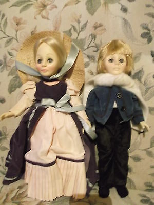 """Lot of 2 1979 Eff & Bee Vinyl Fairy Tale character dolls - 11"""" boy and girl"""