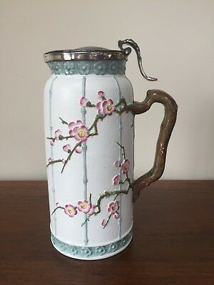 Pinder Bourne & Co. JAPANESE SPRAYS Prunus Relief JUG with Lid c.1877