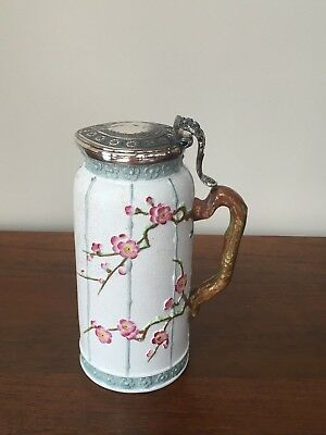 "Pinder Bourne & Co. JAPANESE SPRAYS Prunus Relief  7"" JUG with Lid c.1877"