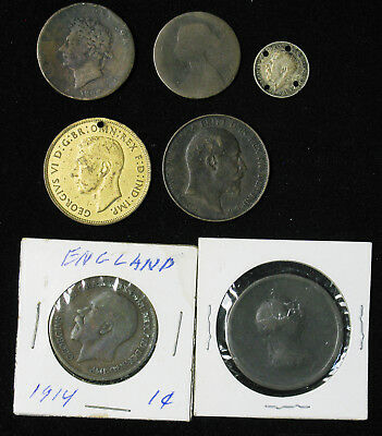 Lot of 7 Great Britain Half, One Penny, 3 Pence 180?, 1827, 1870, 1903, 1914, 19
