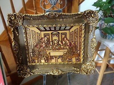 Last supper Orthodox Wood Religious Icon. Antique Frame