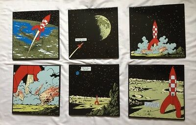 6 Plaques Emaillee Tintin Fusee Lune HERGE / LOMBARD 1985 / 35 X 35 Rare complet