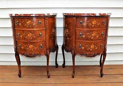 Pair French Tables Marble Italian Marquetry Carved Night Stand End Table Quality