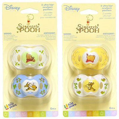 2 Sincerely WINNIE THE POOH Newborn Baby Pacifiers 0+ mo The First Years 1Pk NIP