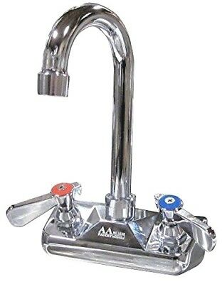 "AA-410G 4"" Wall Mount Commercial Hand Sink Faucet with 3-1/2"" Gooseneck Spout"