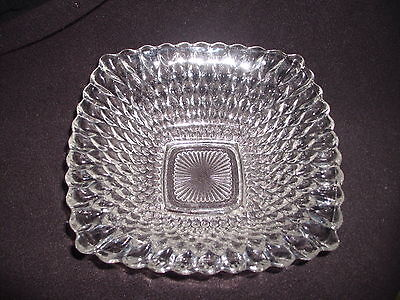 Vintage Square Candy Dish Clear Tear Drop Bubble Glass