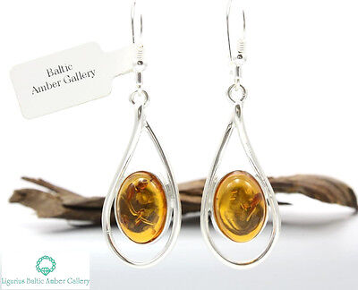 NATURAL BALTIC AMBER STERLING SILVER 925 Earrings Droop Dangle Certified & BOX