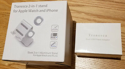 NEW! Tranesca Apple Watch 38/42mm, iPhone/iPad Stand Silver Aluminum, AC Adapter