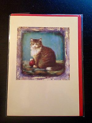 ARTIST Stephen Mackey Blank Card w/Env. MADE IN ENGLAND - Cat with Red Ball