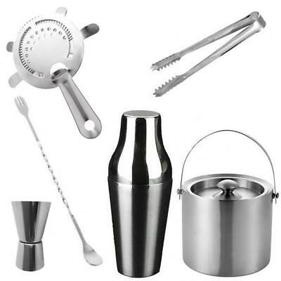 6pcs Stainless Steel Cocktail Shaker Mixer Drink Pub Alcohol Party Martini