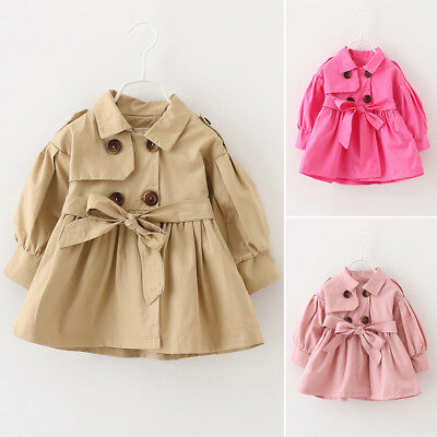 Fashion Baby Girls Toddler Kids Clothes Trench Coat Outerwear Jacket 3 Colors