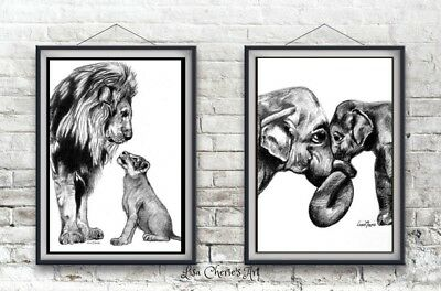 Nursery art, Lion Elephant Prints,baby shower,newborn gift,motherhood,fatherhood