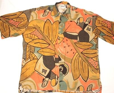 Unionbay Mens Rayon Shirt Button Front Abstract VTG 90s Short Sleeve Size L