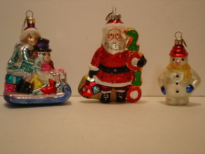 Lot of 3 Christopher Radko Glass Christmas Ornaments Snowman Sleigh Santa