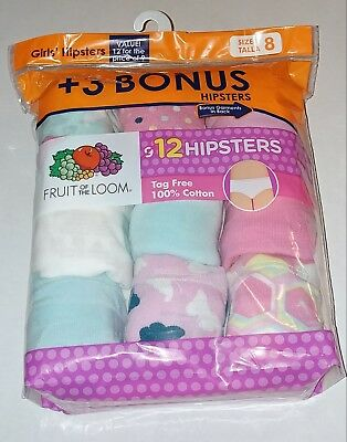 New 12 Pack Girls Hipsters Panties Size 8 Fruit Of The Loom Underwear