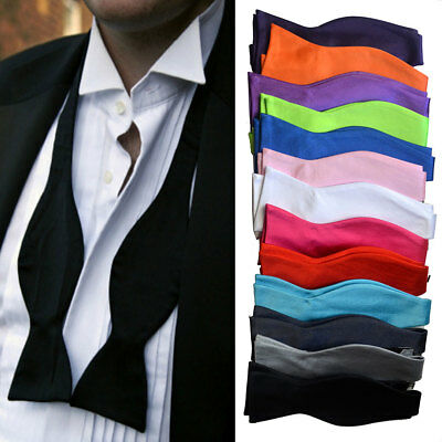 Mens Silk Satin Formal Self Tie Bow Tie Adjustable Self-tied Bow Wedding Necktie