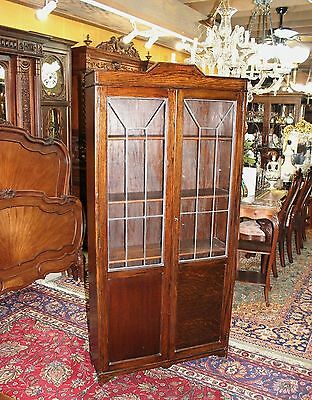 English Antique Arts & Crafts Oak Leaded Glass Door Tall Wooden 5 Shelf Bookcase
