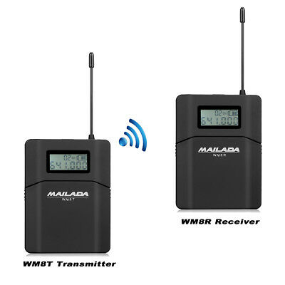 UHF Wireless Microphone System Lavalier Lapel Mic for DSLR Camcorder Recorder