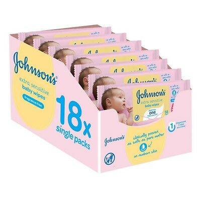 Johnson's Baby Extra Sensitive Wipes 18 Packs 1008 Gentle Baby Wipes Unscented