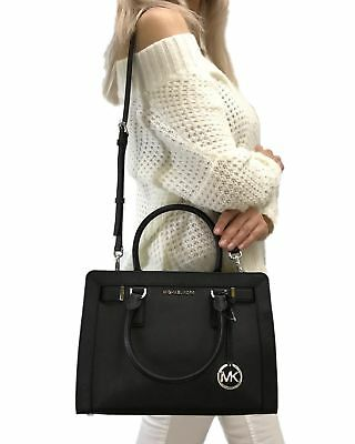 Michael Kors Dillon Top Zip Satchel Medium Saffiano Leather Bag Black