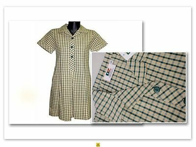 BNWT SIZE 8 CHEST 68cm GIRLS SCHOOL DRESS UNIFORM YELLOW / BOTTLE GREEN
