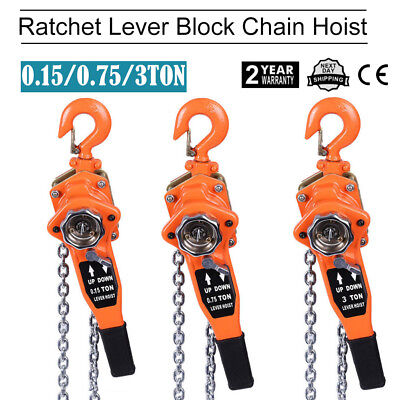 3M 9FT Heavy Duty 750/1500/3000KG Chain Manual Hand Ratchet Winch Lift Pull
