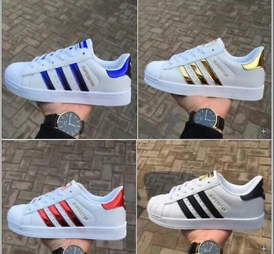 Women and Men's Striped Lace Up Sport Running Sneakers Superstar Trainers Shoes