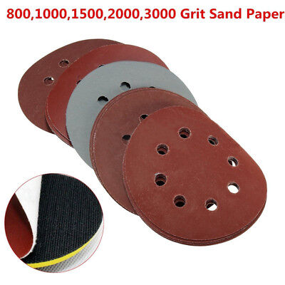 25pcs 5'' 8 Hole Sanding Disc Mixed 800-3000 Grit Polishing Sander Pad Sandpaper