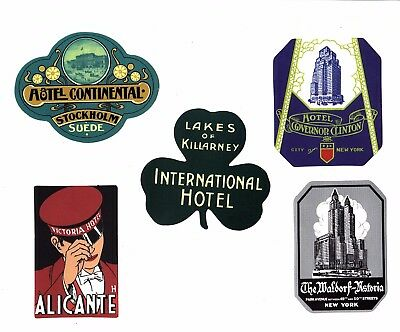 Aufkleber Sticker Set 5St Vintage Reise Travel Hotel Koffer Laptop Vinyl Set 19